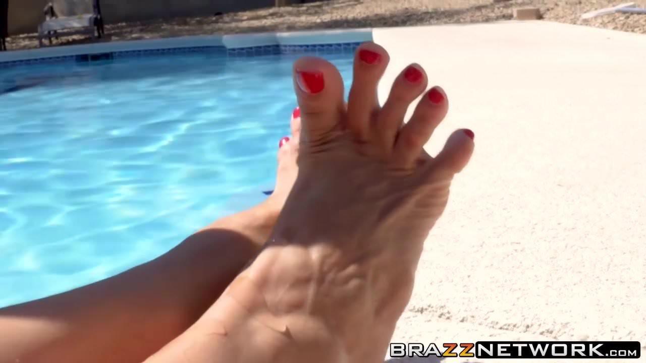 Nasty big boobs MILF takes big dick outdoor near the pool