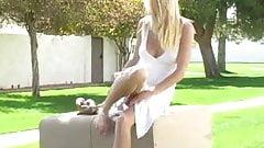 Allison,amazing blonde girl masturbating outdoor!!