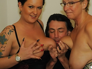 AMATEUR EURO -Katarzyna S. & Erna Shares Cock In Hot FFM Sex