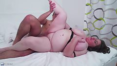 Mature BBW mother fucked by slim son