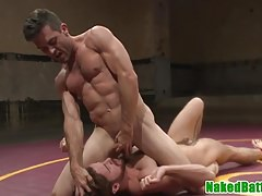 Muscular jock wrestle before anal fingering