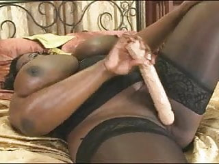 Black MILF - Dildoing and Presenting her Huge Boobs