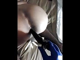 loosening up My sissy bitchs tight hole fingering and plug