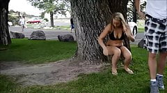 Wifey in see thru leggings outside