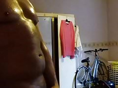 Wank and cumshot with my body oiled up