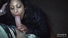 Amateur french black slut sodomized in a public parking