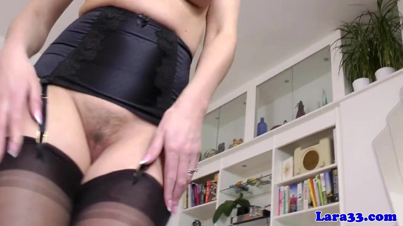 Mature stockings plowed in her tight pussy
