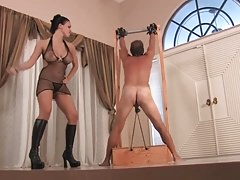 Mistress Whipping a Spread Tied  slave