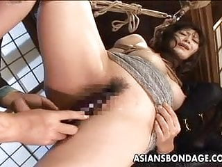 Preview 4 of Tied up Asian babe gets spanked and dildo fucked
