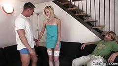 His blonde wife gets screwed from behind