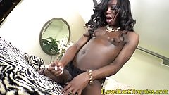 Black trap tugging on her throbbing cock