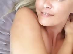 beautiful amazing blonde girl showing pussy and big boobs