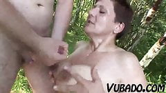 MATURE COUPLE HAVING OUTDOOR FUN !!