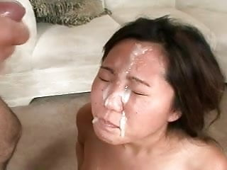 Cute Asian Gives Head Until 1 Man Bukkake