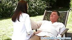 Teen rides grandpas cock outdoors