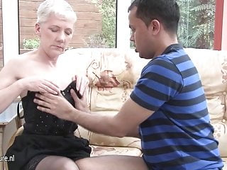 Horny mature slut mom fucking a younger guy