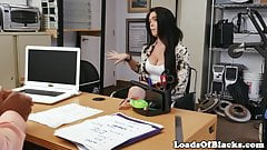 Busty amateur rides her black casting agent