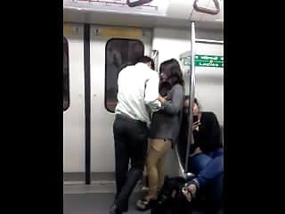 Desi Delhi Metro Boobs Grope Kiss Public Metro Train Caught