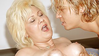 Fat mature woman and her step-son