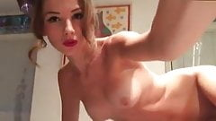 Hot girl in kitchen  fingering and toys
