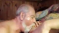 Gay sucking on daddys big fat cock