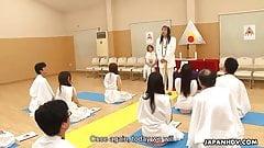 Glamorous Japanese hottie religiously worships cocks like th