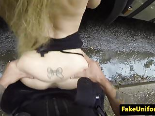 UK policeman stops blonde to fuck her ass