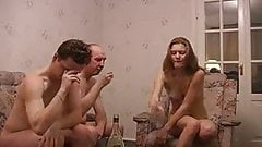 threesome young couple with old man
