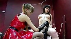 Young slave humiliation by lesbian Mistress