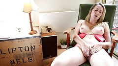 Babe with Pierced Nipples and Clit Rubs Shaved Pussy's Thumb