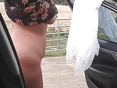 Stripping beside the car, AGAIN