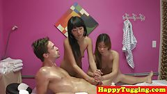 Asian spycam massage with therapists tugging