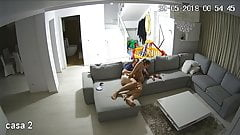 Voyeur - Hacked IP Cam - Couple Fucking in the Living Room