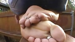 At the mercy of her mature feet