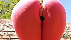 Big Ass Teen Doing Yoga in Tight Lycra and Thong. Busty Teen