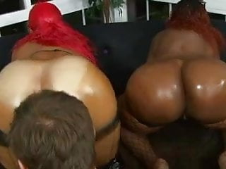 Preview 2 of Lucky white stud gets his throbbing cock deep-throated by two black whores