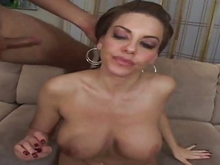 Stud licks busty slut's nipples before she blows him