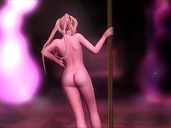 DOA Food: Nude Marie Rose Pole Dance