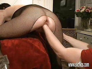 Extreme amateur girl fist fucked in both her holes