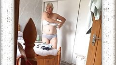 Mature  Lady Caught changing on hidden cam