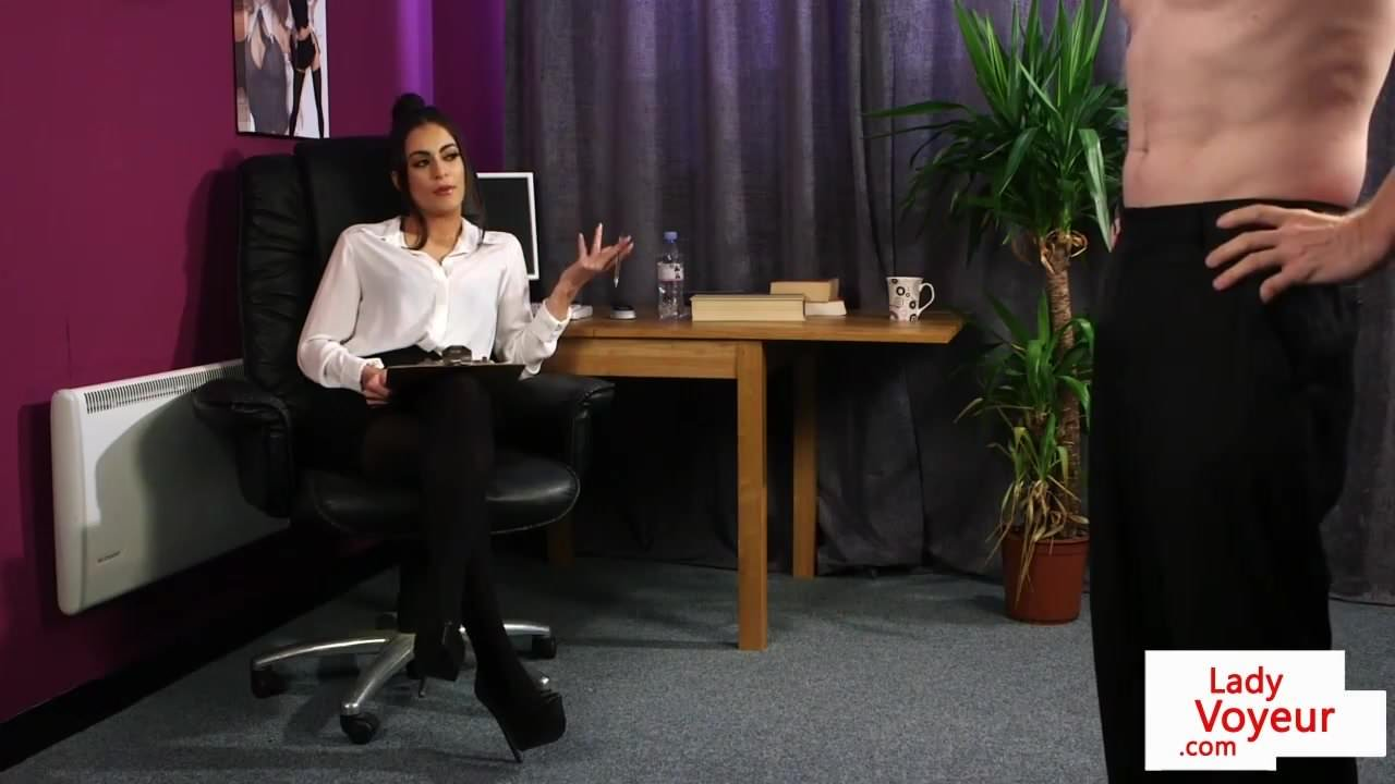 British CFNM office babe instructs jerkoff