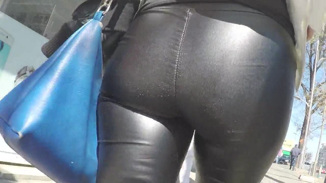 In tight ass leather pants girls
