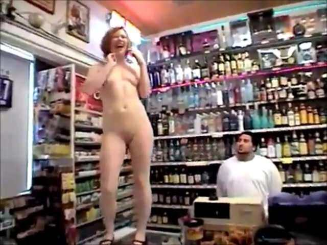 Girl gets naked in store