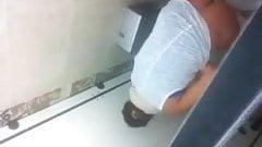 nice teen in restaurant toilet