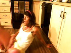 Couldn't hold it...Tranny pisses in the kitchen