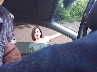 Dickflash pretty MILF smiles and gives directions