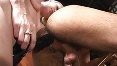 Blond bitch fucking black man's ass