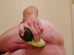 Fucking my ass with a cucumber