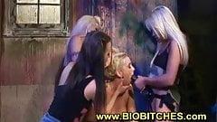 Lesbian anal strapon gangbang