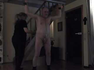 Lady prepares my cock and balls to be whipped